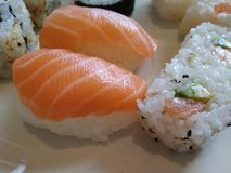 Delicious plate with sushi royalty free stock photo