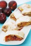 Delicious plum pie Stock Photos