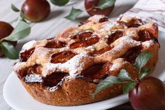 Delicious plum pie close-up on the table horizontal Royalty Free Stock Photo