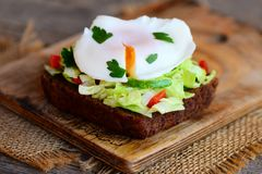 Delicious poached egg sandwich. Simple poached egg on rye bread slice with fresh vegetable mix and parsley. Healthy breakfast idea Stock Photography