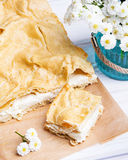 Delicious Polish cake with creme _ Karpatka Royalty Free Stock Images