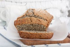 Delicious poppy seed cake slices stock images