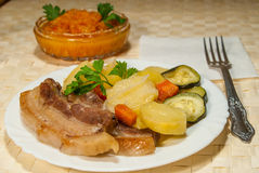 Delicious pork dinner Stock Image