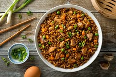 Pork Fried Rice. Delicious pork fried rice with egg, carrot, green peas, garlic and green onion royalty free stock images