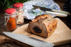 Delicious pork loin with plum. Stock Photography