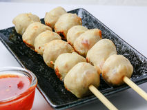 Delicious Pork meatballs grilled. On white Stock Photo