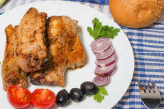 Delicious pork ribs grilled decorated Royalty Free Stock Photos