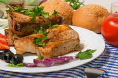 Delicious pork ribs grilled decorated Stock Photography