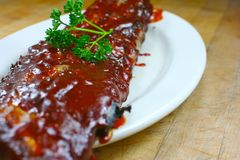 Delicious pork ribs smothered Royalty Free Stock Photo