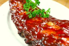 Delicious pork ribs smothered Royalty Free Stock Image