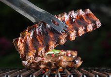 Delicious pork spareribs on grill grate Stock Image