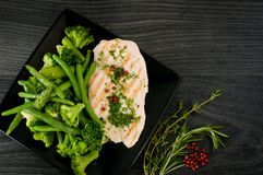 Delicious portion of chicken breast with steamed vegetables. Delicious portion of chicken breast with vegetables Stock Image