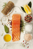 Delicious portion of fresh salmon fillet with aromatic herbs, sp royalty free stock photography