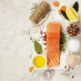 Delicious portion of fresh salmon fillet with aromatic herbs, sp Stock Image