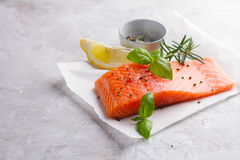 Delicious portion of fresh salmon fillet Royalty Free Stock Photography