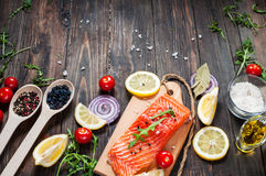 Delicious portion of fresh salmon fillet with aromatic herbs, spices and vegetables - healthy food, diet or cooking concept. Top v Royalty Free Stock Photos