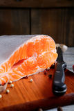 Delicious portion of fresh salmon steak slices with spices. Seafood Stock Photography