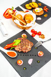 Delicious portion of healthy grilled lean medium rare beef steak Stock Photography
