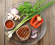 Delicious portion of healthy grilled lean medium rare beef steak Royalty Free Stock Photos