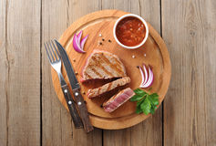 Delicious portion of healthy grilled lean medium rare beef steak Royalty Free Stock Images