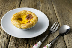 Delicious portuguese egg tart Stock Images