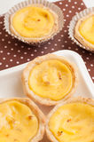 Delicious portuguese egg tarts. Royalty Free Stock Image