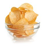 Delicious potato chips in bowl Royalty Free Stock Images