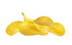Delicious potato chips isolated on white Royalty Free Stock Photos