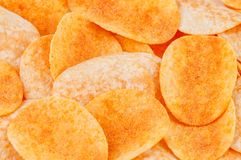 Delicious potato chips texture royalty free stock photography
