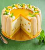 Delicious pound cake Charlotte with mango Stock Images
