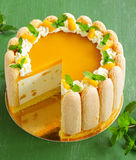Delicious pound cake Charlotte with mango Stock Photography