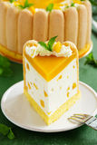 Delicious pound cake Charlotte with mango Royalty Free Stock Photography