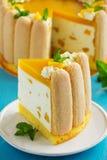 Delicious pound cake Charlotte with mango Stock Photo