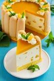 Delicious pound cake Charlotte with mango Stock Image