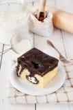 Delicious pound cake with cream Stock Photos