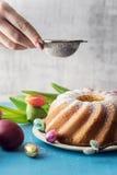 Delicious pound cake for Easter Stock Photos
