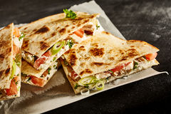 Delicious prepared quesadilla slices Royalty Free Stock Image