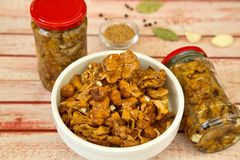 Delicious preserved marinated mushrooms - Preserved autumn vegetables. Delicious preserved marinated mushrooms with garlic, bay leaves and mustard seeds, in the Stock Photo