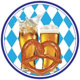 Cartoon Pretzel with Beer. Delicious pretzel with glass of beer cartoon food design Stock Image