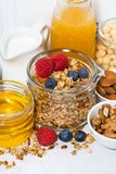 delicious products for a healthy breakfast, vertical closeup Stock Image