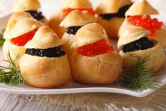Delicious profiteroles stuffed with red and black caviar Royalty Free Stock Photography