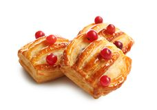Delicious puff pastries with cranberry Royalty Free Stock Photography