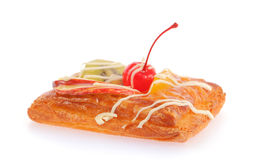 Delicious puff pastry with cream and fruits Stock Image