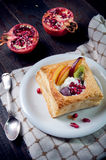 Delicious puff pastry with cream and fruits Royalty Free Stock Photo