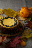 Delicious pumkin cake with leaves on background. Stock Image