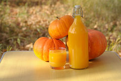 Delicious pumpkin juice from the fresh crop. Royalty Free Stock Photography
