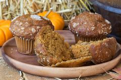 Delicious Pumpkin Muffins Closeup Royalty Free Stock Photos