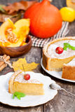 Delicious pumpkin pie  with cinnamon decorated with wild apples Stock Photography