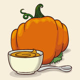 Delicious Pumpkin's Soup with Spoon , Vector Illustration Royalty Free Stock Photos