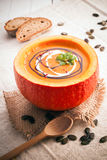 Delicious pumpkin soup for the cold fall weather Royalty Free Stock Photo